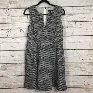 J Crew Printed Black and White Eyelet Dress